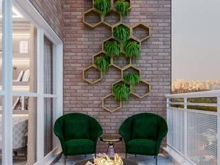 Camila Pimenta | Arquitetura + Interiores Balcón Ladrillos Verde