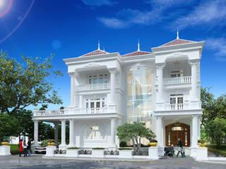 Công ty Kiến trúc Á Âu Casas de estilo clásico Concreto Blanco
