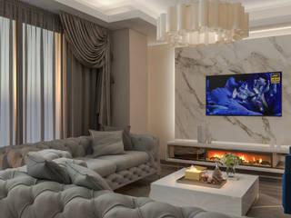 Salon Tasarımı Beyza Deniz Yaz Interiors Klasik Oturma Odası Ahşap-Plastik Kompozit Altın Sarısı