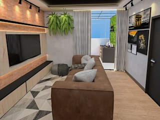 Studio Mies Arquitetura e Interiores Ruang Media Gaya Industrial