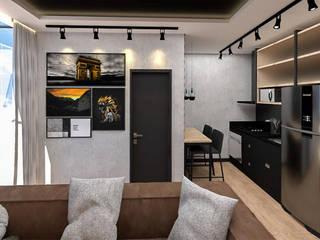 Studio Mies Arquitetura e Interiores Ruang Makan Gaya Industrial