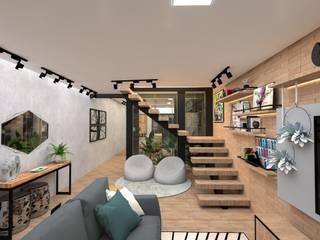 Studio Mies Arquitetura e Interiores Ruang Keluarga Gaya Industrial