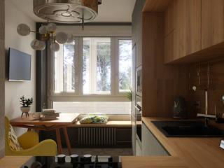Однокомнатная квартира. 2-й Павловский переулок STUDIO 57 Маленькие кухни