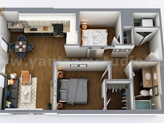 Two Bedroom Residential House 3D Virtual Floor Plan Design by Architectural Rendering Companies, Vegas - USA モダンな 家 の Yantram Architectural Design Studio モダン