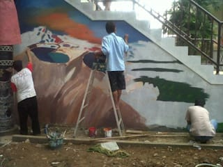 Pengerjaan Lukis Dinding di TMII (Taman Mini Indonesia Indah) - Jasa Lukis Dinding Terbaik - Raditya Design And Art Raditya Design and Art