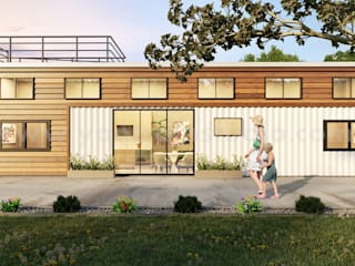 Popular Shipping Container House 3D Exterior Rendering Services by Architectural Design Studio, Amsterdam - Netherlands の Yantram Architectural Design Studio モダン