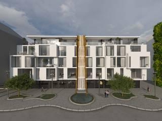Haus mit Wasserfall - Konzept für Stadterneuerung/ Ludwigshafen/Rhein Minimalistische Geschäftsräume & Stores von Peter Stasek Architects - Corporate Architecture Minimalistisch