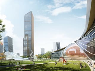 Stitching a City through Transportation – Chengdu Tianfu New Station TOD Modern offices & stores by Architecture by Aedas Modern