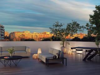 Plurifamiliar Barcelona ecoarquitectura Balcones y terrazas de estilo moderno