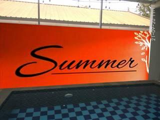 Design Mural 3D Dinding Kolam Renang Raditya Design and Art Event Venue Gaya Asia Orange