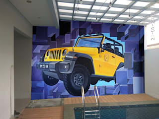 Design Mural 3D Dinding Kolam Renang Raditya Design and Art Event Venue Gaya Asia Multicolored