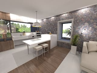 HOUSE FOR DISABLED PEOPLE AT LANZAROTE RÖ | ARQUITECTOS Built-in kitchens Stone White