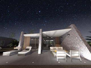 VILLA ACCESIBLE EN LANZAROTE RÖ | ARQUITECTOS Balcones y terrazas de estilo minimalista Hormigón Gris