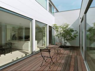 株式会社 片岡英和建築研究室 Jardines de estilo moderno Madera Blanco
