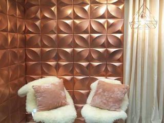 Revestimento 3D LT Reveste Salas de estar modernas Plástico Rosa