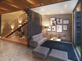 Residencia IS [León, Gto.] 3C Arquitectos S.A. de C.V. Escaleras Vidrio Negro