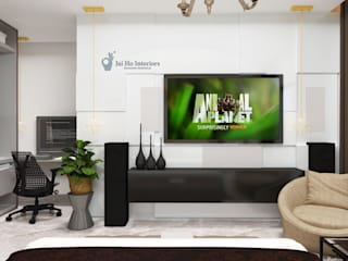 JAIHO INTERIORS - RESIDENCE & COMMERCIAL INTERIORS Modern style bedroom Plywood White
