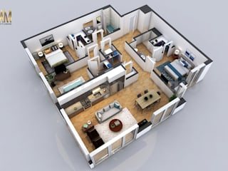 Residential 3D Floor Plan with 2 Bedroom Apartment/House Design by Architectural Modeling Firm, Dubai - UAE の Yantram Architectural Design Studio クラシック