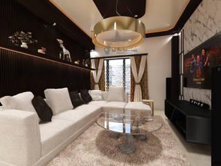 JAIHO INTERIORS - RESIDENCE & COMMERCIAL INTERIORS Modern living room Plywood White