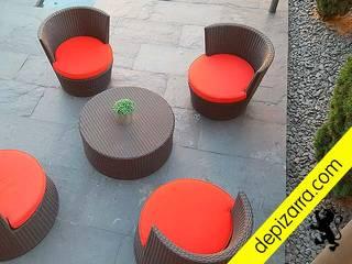 Terraza con suelo de pizarra natural. depizarra.com Balcones y terrazas de estilo clásico Pizarra Negro