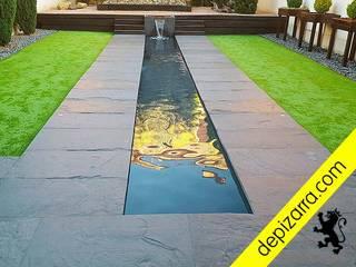 Terraza con suelo de pizarra natural. depizarra.com Suelos Pizarra Negro