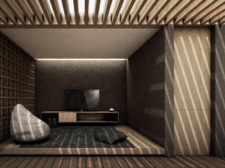 F House studioreka architect Ruang Keluarga Modern
