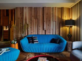 家的溫度與手感 大湖森林室內設計 客廳 木頭 Blue