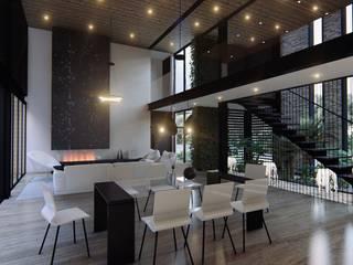Diseño de interiores casa esquinera Salas de estilo minimalista de 4.19Arquitectos Minimalista Mármol