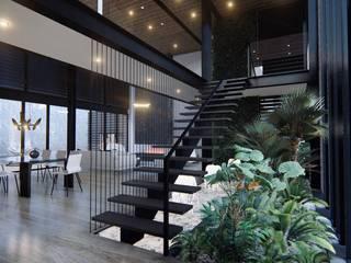 Diseño de interiores casa esquinera de 4.19Arquitectos Moderno Hierro/Acero