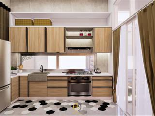 Rancang Reka Ruang KitchenCabinets & shelves Plywood Brown