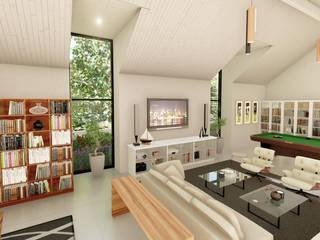 SuP Architecture 现代客厅設計點子、靈感 & 圖片 磚塊 White