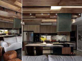 退休農夫的家 大湖森林室內設計 餐廳 大理石 Multicolored