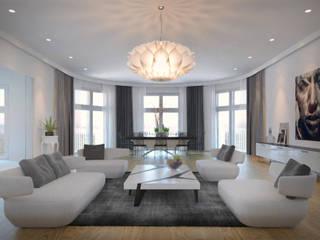 FISCHER & PARTNER lichtdesign. planung. realisierung Salas de estar modernas