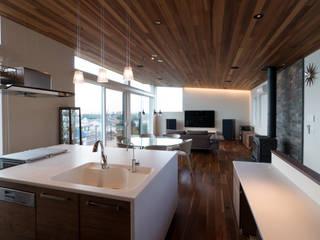 高台の家 藤吉建築設計事務所 モダンな キッチン 白色