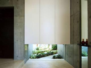 光と風をとりこむコンクリートの家 藤吉建築設計事務所 モダンスタイルの 玄関&廊下&階段 タイル 白色