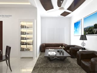 JAIHO INTERIORS - RESIDENCE & COMMERCIAL INTERIORS Living room Plywood White