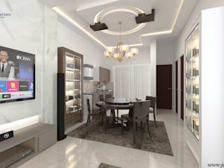 JAIHO INTERIORS - RESIDENCE & COMMERCIAL INTERIORS Modern dining room Plywood White