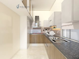 JAIHO INTERIORS - RESIDENCE & COMMERCIAL INTERIORS Built-in kitchens Plywood White
