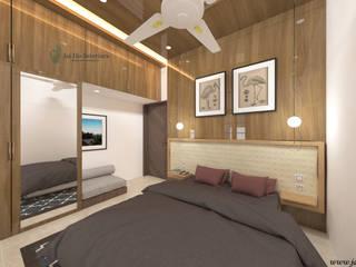 JAIHO INTERIORS - RESIDENCE & COMMERCIAL INTERIORS Modern style bedroom Plywood White
