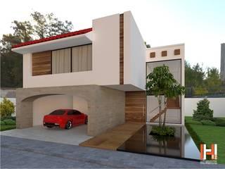 CASA CON ESPEJO DE AGUA EN ACCESO Casas modernas de HHRG ARQUITECTOS Moderno