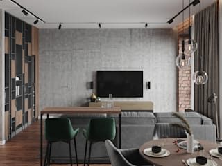 Студия дизайна 'INTSTYLE' Living room Concrete Grey