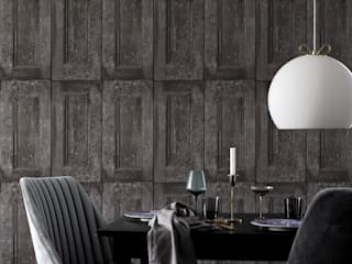 The 'Wood Panelling' wallpaper collection, totally on the wall design: rustic  by Mineheart, Rustic