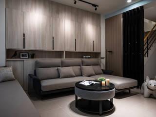 Mocha 逸硯空間設計有限公司 现代客厅設計點子、靈感 & 圖片 塑木複合材料 Wood effect