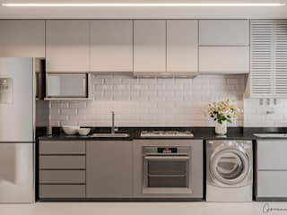 Giovanna Romero Arquitetura e Interiores Dapur kecil Grey