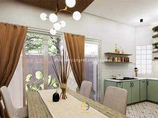 Rancang Reka Ruang Modern Dining Room Bricks White