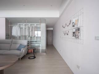 有隅空間規劃所 Salon minimaliste Verre Rose