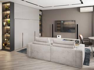 Объеденили две однокомнатные квартиры. Проект квартиры в современном стиле. 'PRimeART' Гостиные в эклектичном стиле Серый