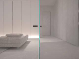 Couloir, entrée, escaliers minimalistes par Dmitriy Khanin Minimaliste
