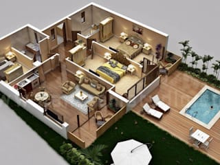 Traditional Residential House 3D Floor Plan Design with Swimming Pool Concept by Architectural Rendering Company, Sydney - Australia Yantram Architectural Design Studio Modern