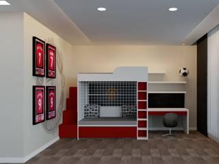 Laurel Crown Designs Kamar Tidur Modern Red